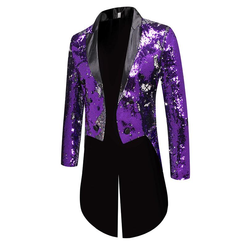 Purple Sequin Slim Fit Double Breasted Swallowtail