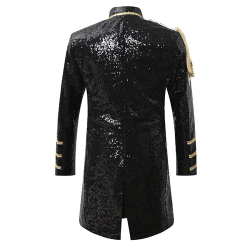Party Coats Slim Fit Black Sequin Robe