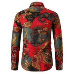 Slim Fit Paisley Casual Shirt Red