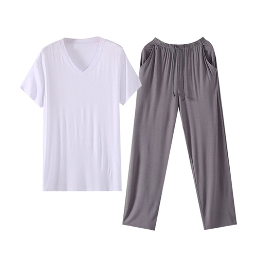 White V-Neck Modal T-Shirt With Soft Trousers Lounge Set 3 Colors