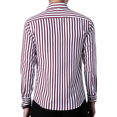 Slim Fit Pinstripe Shirt Red