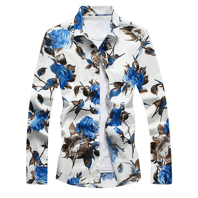 Slim Fit Satin Floral Print Shirt 3 Colors