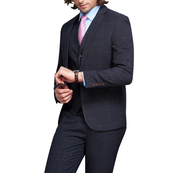 3-Piece Slim Fit Plaid Suit Grey