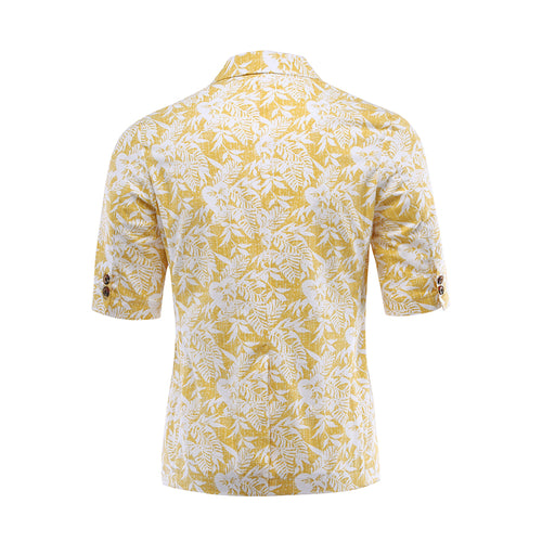 Palm Leaf Print Summer Suit Yellow Shirt & Shorts