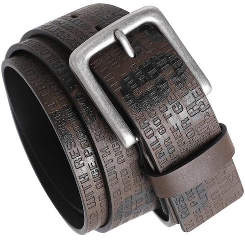 Genuine Leather Dress Belt Letter Printing Pin Buckle Belt Brown
