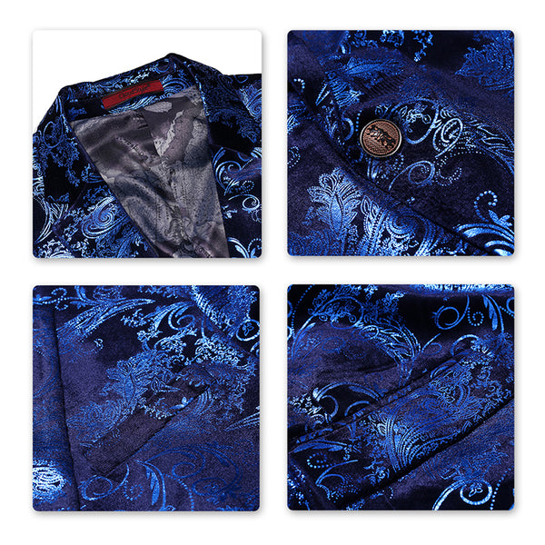 2-Piece Slim Fit Digital Print Blue Suit