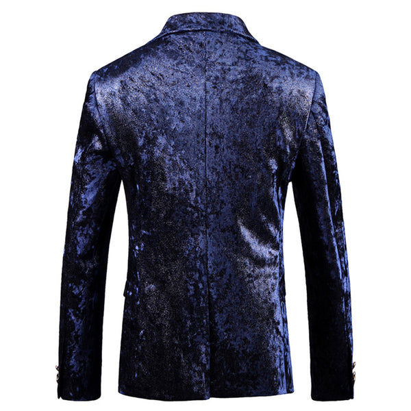 Slim Fit Floral British Style Blazer Navy