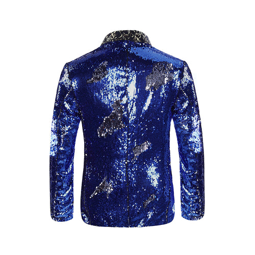 Slim Fit Reversible Sequins Blue Blazer