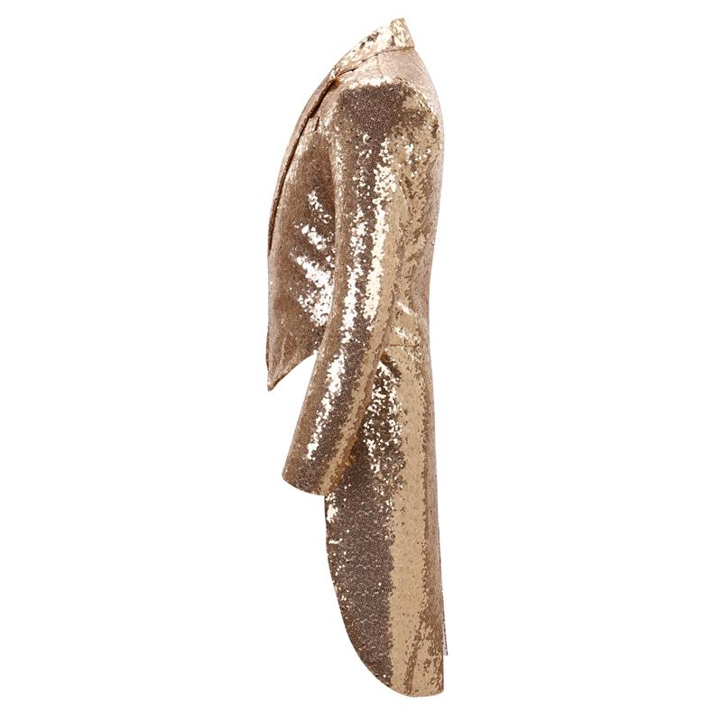 Gold Shiny Sequin Party Swallowtailed Coat