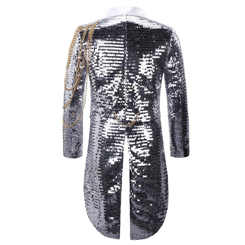 Silver Shiny Sequin Party Swallowtailed Coat