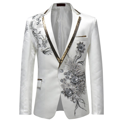 Slim Fit Embroidery Floral Blazer White - Cloudstyle