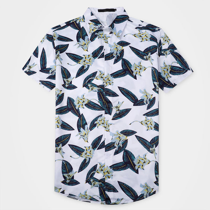 Plants Print Shirt White Summer Shirt