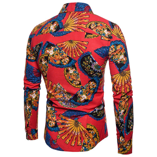 Slim Fit Floral Dress Shirt Red