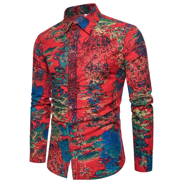 Slim Fit Floral Shirt Red
