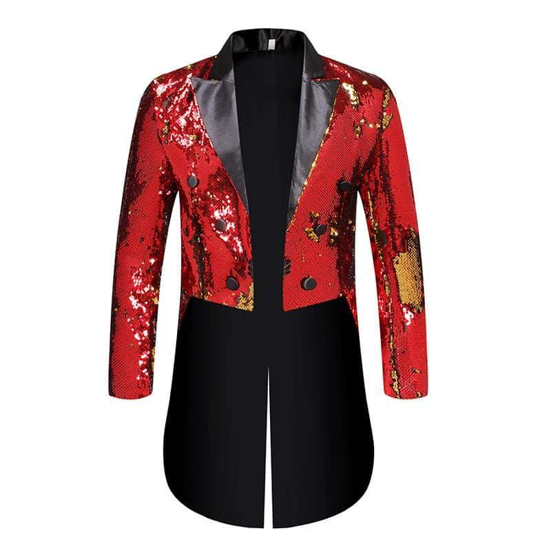 Red Sequin Slim Fit Double Breasted Swallowtail