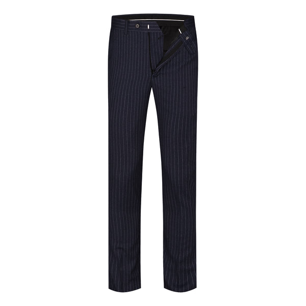 2-Piece Slim Fit Double Breasted Stripe Suit Black - Cloudstyle