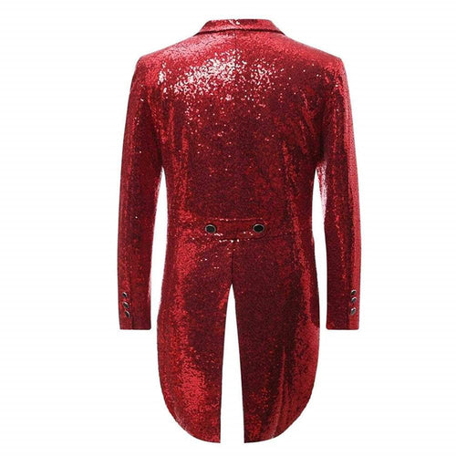 Red Sequin Swallowtail Suit 2-Piece Party Suit