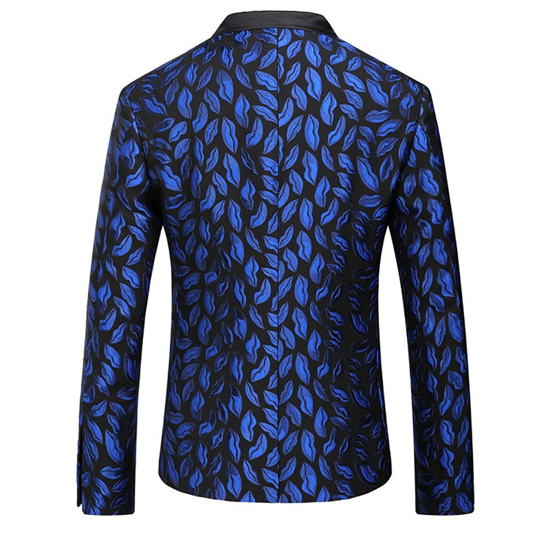 Blue Lips Print Jacket Casual Stylish Blazer