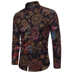 Paisley Burgundy Casual Shirt Gold Stamping