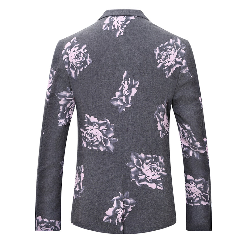 2-Piece Purple Peony Print Grey Suit