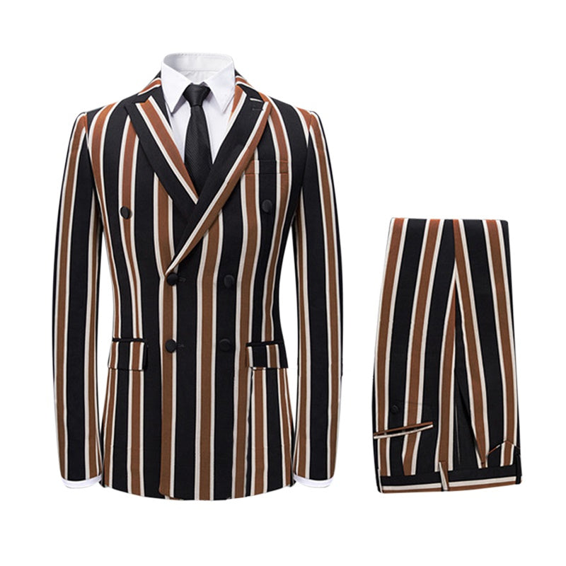 Slim Fit Casual Suit Three Piece Stripe Brown Suit
