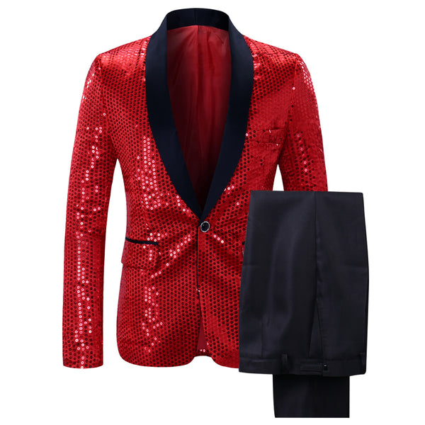 2-Pieces Shiny Sequin Party Suit 6 Colors - Cloudstyle
