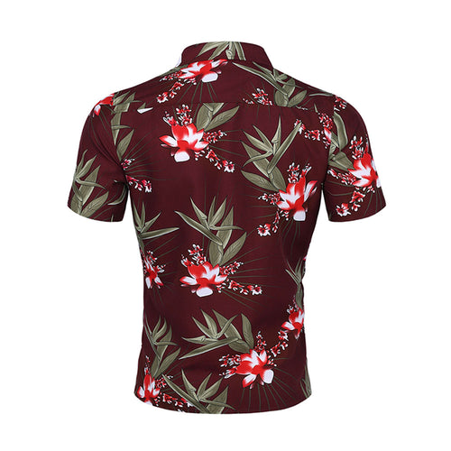 Slim Fit Floral Printed Casual Shirt Maroon