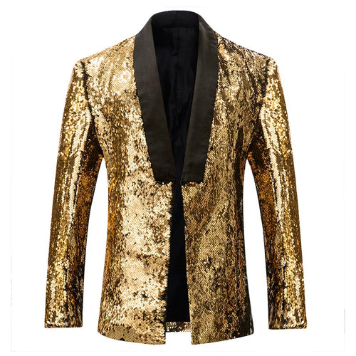 Golden Buttonless Reversible Sequins Satin Collar Blazer