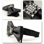 PU Leather Crystal Bow Tie 6 Colors - Cloudstyle