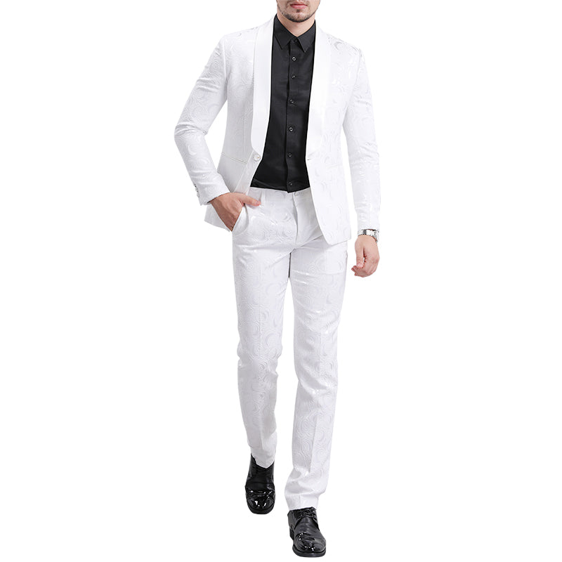 White Paisley Suit 2-Piece Slim Fit Suit