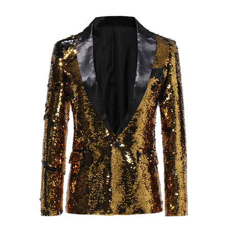 Slim Fit Lightning Tree Sequin Blazer Black