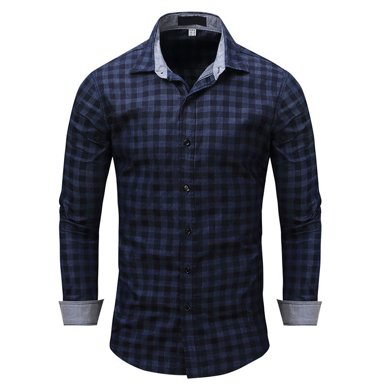 Slim Fit Plaid Denim Navy