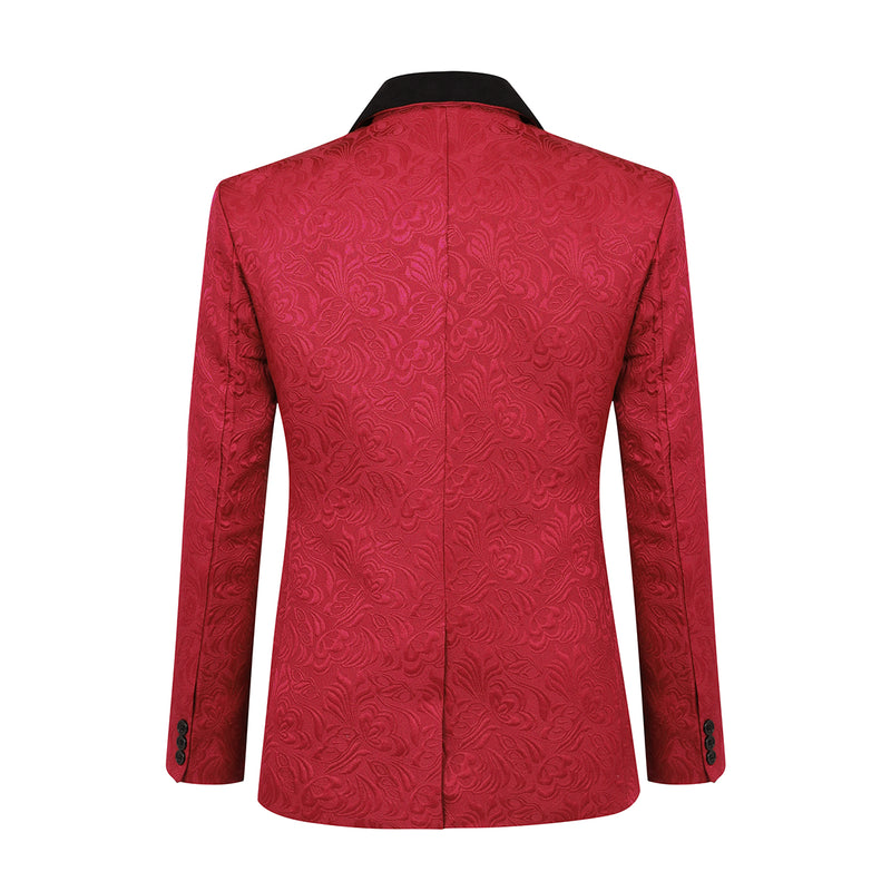 3-Piece Paisley Red Suit Shawl Collar Suit