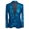Slim Fit Rose Hot Stamping Blue Blazer