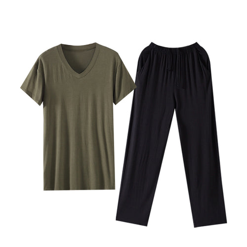 V-Neck Modal Pajama T-Shirt With Soft Black Trousers Lounge Set 4 Colors