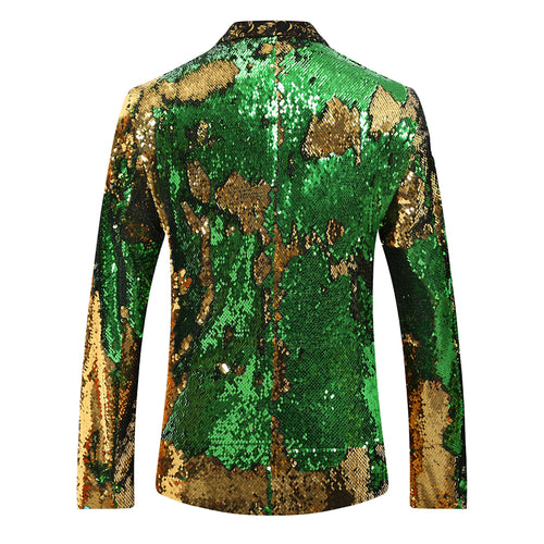 Fairy Green Shawl Collar Sequins Dance Party Jacket