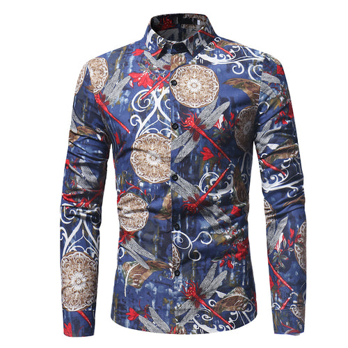 Slim Fit Floral Shirt Navy