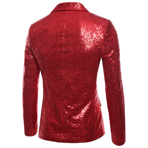 Red Shiny Sequin Jacket Party Tuxedo Blazer