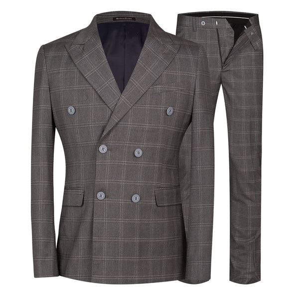 2-Piece Slim Fit Plaid Retro Dress Suit 2 Colors - Cloudstyle
