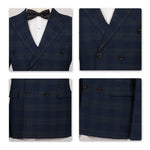 2-Piece Slim Fit Plaid Retro Navy Dress Suit