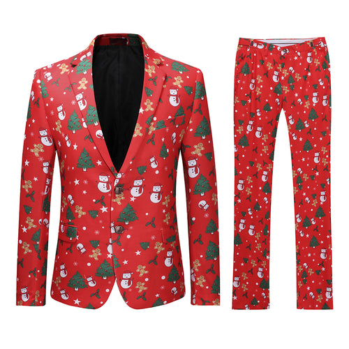 2-Piece Snowman Printed Christmas Suit Red - Cloudstyle