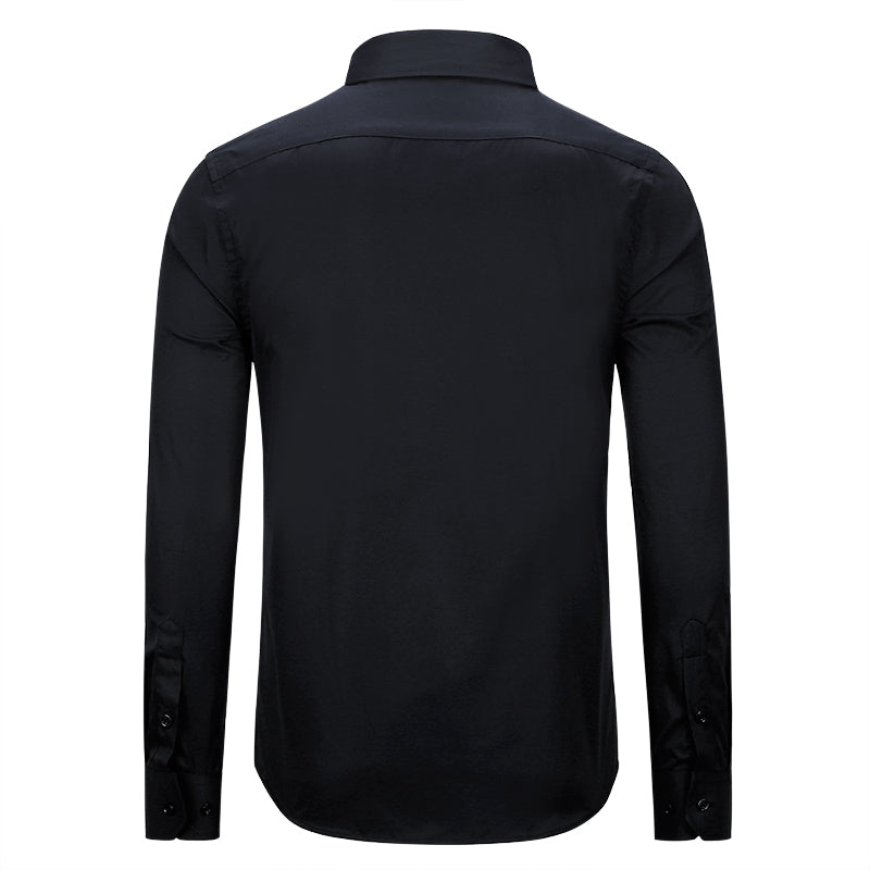 Slim Fit Turn-Down Collar Black Shirt