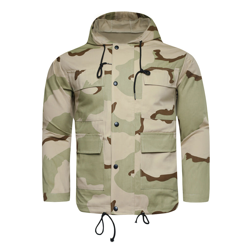Hooded Camouflage Jacket Beige - Cloudstyle