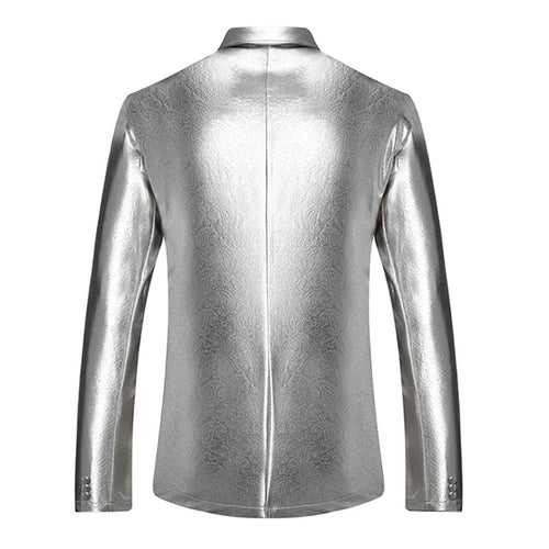 Silver Jacket Two Buttons Shiny Blazer