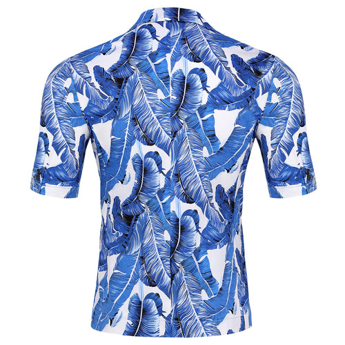 Leaf Printed Short Suit Blue Summer Suit