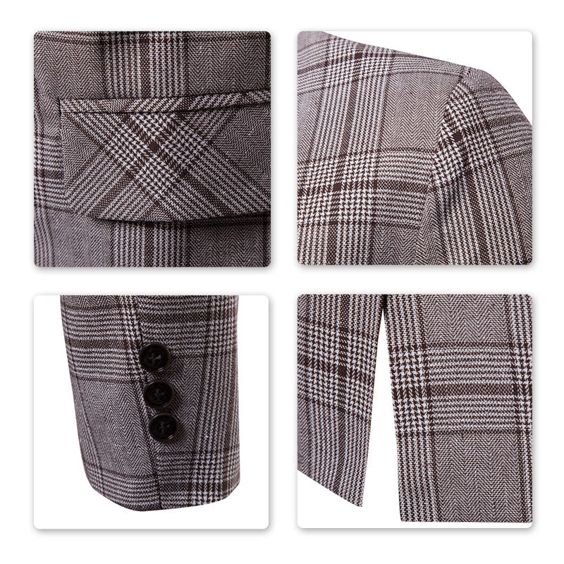 Modern Fit Plaid Coffee Leisure Blazer