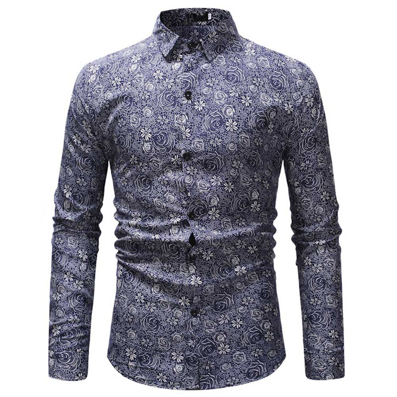 Slim Fit DarkBlue Floral Casual Shirt