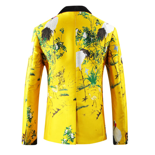 Embroidery Yellow Blazer Slim Fit Tuxedo Blazer
