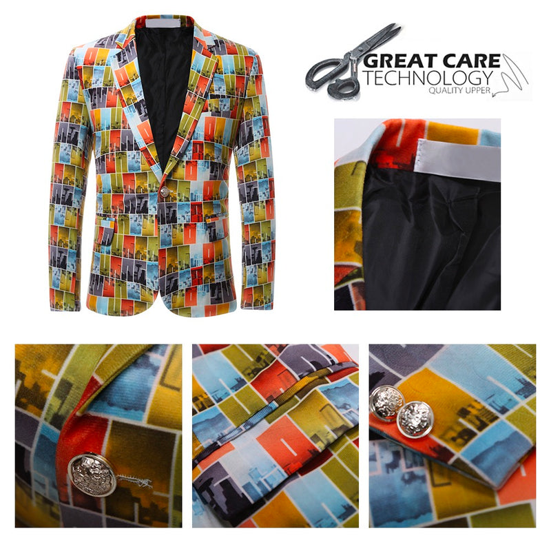 Orange Slim Fit Plaid Print Blazer