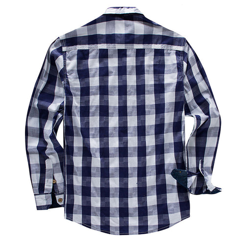 Slim Fit Check Casual Shirt Navy
